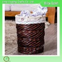 Buy cheap WHOLESALE VINTAGE WHITE WICKER WASTE PAPER STORAGE BASKET HOME OFFICE TRASH CAN product