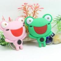 Eo-friendly flashlight sound frog shape keychain