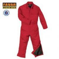 Buy cheap Red cotton winter insulated coverall warmable worker uniform product