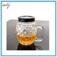 Buy cheap Round Pineapple Shaped Glass Clear Bottle WIth Plastic Lid Mason Jar product