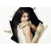 Leather Silk Skin Follow Pattern Wrist Women's Leather Gloves With Mix Color Sheep Leather