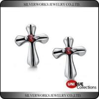 Men's Gothic Punk Thai Silver Cross Shapen CZ Silver Stud Earring With Zricon