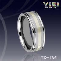 China Stepped Edges Polished Shiny Tungsten Carbide Ring Middle Brushed and Silver Inlay TX-186 on sale