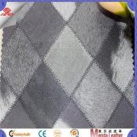 Buy cheap Grey color classic design grid pattern velvet backing leather sofa upholstery product