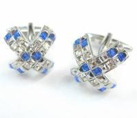 - Blue and White Crystals Cross Cufflinks