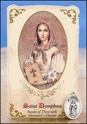 China St Dymphna (Alzheimer's Disease) Healing Holy Card with Medal on sale