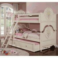 Buy cheap 5 Pieces Doll House Cream Kids Twin Twin Trundle Bunk Bed Bedroom Set product