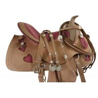 China Pink Western Leather Barrel Racing Saddle Tack 14 17[3110] on sale