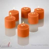 China Orange Votive Candles Unscented 10 Hour Set of 72 wholesale