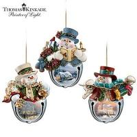 Buy cheap Thomas Kinkade Snow-Bell Holidays Snowman Ornament Collection: Sets Of Three product
