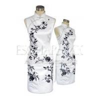 China Chinese Wedding Dress Bamboo & Plum Blossoms Embroidery Silk Qipao - White on sale