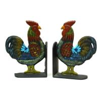 Buy cheap Animal Bookends Cast Iron Hand Painted Rooster Bookends Set from wholesalers