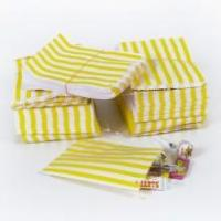 China Yellow Candy Stripe Merchandise Retail Paper Bags - CLOSEOUT on sale