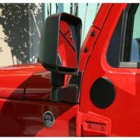 Body Parts - JK Wrangler Mirror Relocation Brackets, Black; 07-16 Jeep Wrangler JK