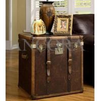 Buy cheap Full Brazil Leather Antique Color Cover with Drawers Leather Lamp Table from wholesalers