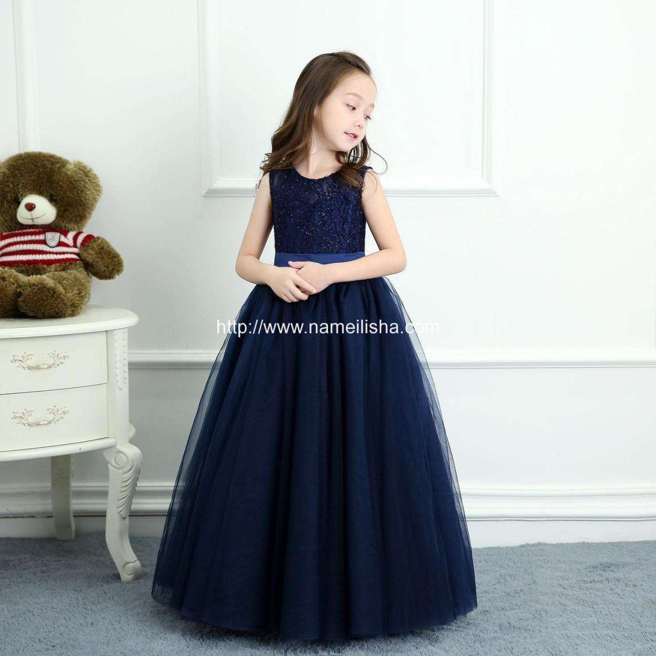 Buy cheap Crew A-Line Navy Blue Bownet Sash 2017 Flower Girls Dresses from wholesalers
