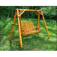 White Cedar Stained Love Seat Swing w/ Stand