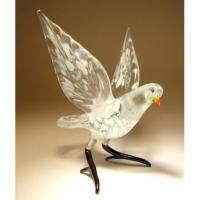 China White Glass Bird Dove Figurine on sale