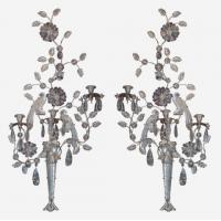 Large pair of double bird rock crystal 3-light wall lights Stock Number: L240