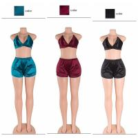 Buy cheap Sexy Deep V neck Sleeveless Crop Top&Short Pants Two Pieces Outfits from wholesalers