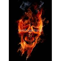 China Canvas prints Water-proof canvas printing of fiery skull on sale