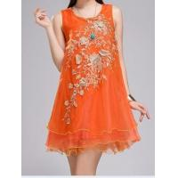 Buy cheap Dimensional flowers chiffon organza embroidered ladies dress product