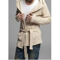 Buy cheap Men's Fashion Slim Single Breasted Hoody Cotton Cardigan With Belt from wholesalers