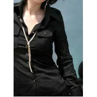 Buy cheap Women's Roll Collar Long Sleeve Single Breasted Multi-pockets Office Lady Black Cotton Blouse product