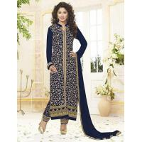 China Designer Suits navy blue pure georgette dress material on sale