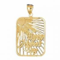 China 14K Yellow Gold Happy Mothers Day Pendant on sale