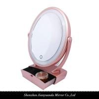 Buy cheap Dual-sided LED Vanity Mirror with organizer and 1X/5X magnification product