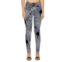 Buy cheap MultiFun Popular Women Black And White Peacock Print Stretch Sexy Slim Flexible Fitness Leggings from wholesalers