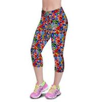 Buy cheap Crystal Stone Floral Printing Knee-length High Waist Elastic Slim Capri Leggings product