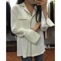 V-neck loose spring pajamas long lazy split shirt