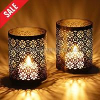 Buy cheap table decoration metal windlight candle holder, set of 2 from wholesalers