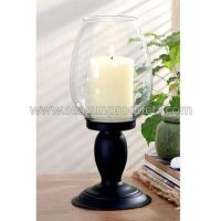 Buy cheap decoration glass candle lamp with metal base from wholesalers