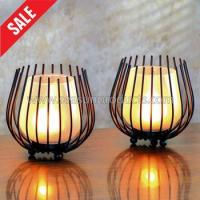 China made in China set of 2 black metal candle holder with frosted glass wholesale