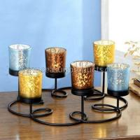 Buy cheap made in China black metal candle holder candle centerpiece with 6 colorful glass cups from wholesalers