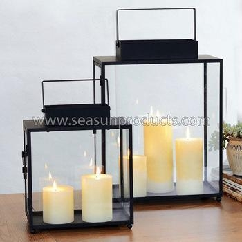 Quality made in China set of 2 glass lantern black metal lantern for sale
