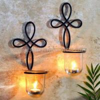Buy cheap decoration metal glass wall candle holder, set of 2 from wholesalers