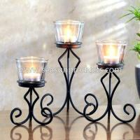Buy cheap table decoration metal candle holder with glass candle cup, set of 3 from wholesalers