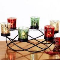 Buy cheap decoration metal candle centerpiece with 6 colorful glass candle cups from wholesalers