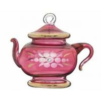 China Etched Glass with Gold Trim Teapot Shape wholesale