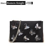 Buy cheap 2017 factory designer butterflies decorative leather shoulder bag with chain product