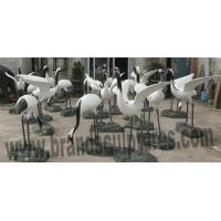 China Impressive Fiberglass White Crane Animal Sculptures as Pool Decoration on sale