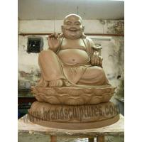 China Majestic Sitting Laughing Buddha Clay Statue for Temple Decoration on sale