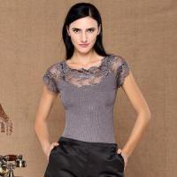 Buy cheap Lace Embroidery Ribbed Bodycon Knitted Sweater Lace Insert Knitted Pullover from wholesalers
