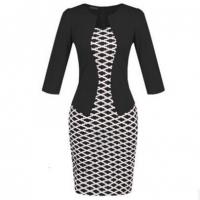 Buy cheap New Fashion Autumn/Spring Style Faux Two Piece Elegant Plaid Long Sleeve Pencil Dress from wholesalers