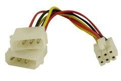 Quality Cables & Accessories 2 x 4-Pin ATX to 6-Pin PCI-Express Video Card Power Converter for sale