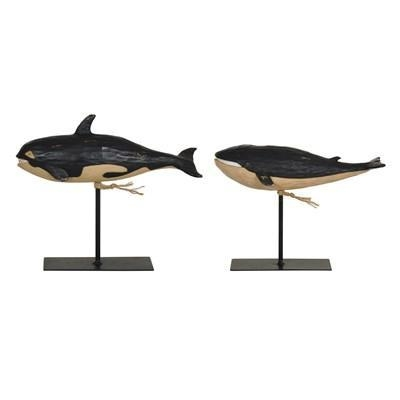 """Quality Whale Statues L)10.5 x 4.5 x 9"""" S)10.5 x 4.5 x 7.5"""" ,Resin&Metal Antique Black Finish for sale"""